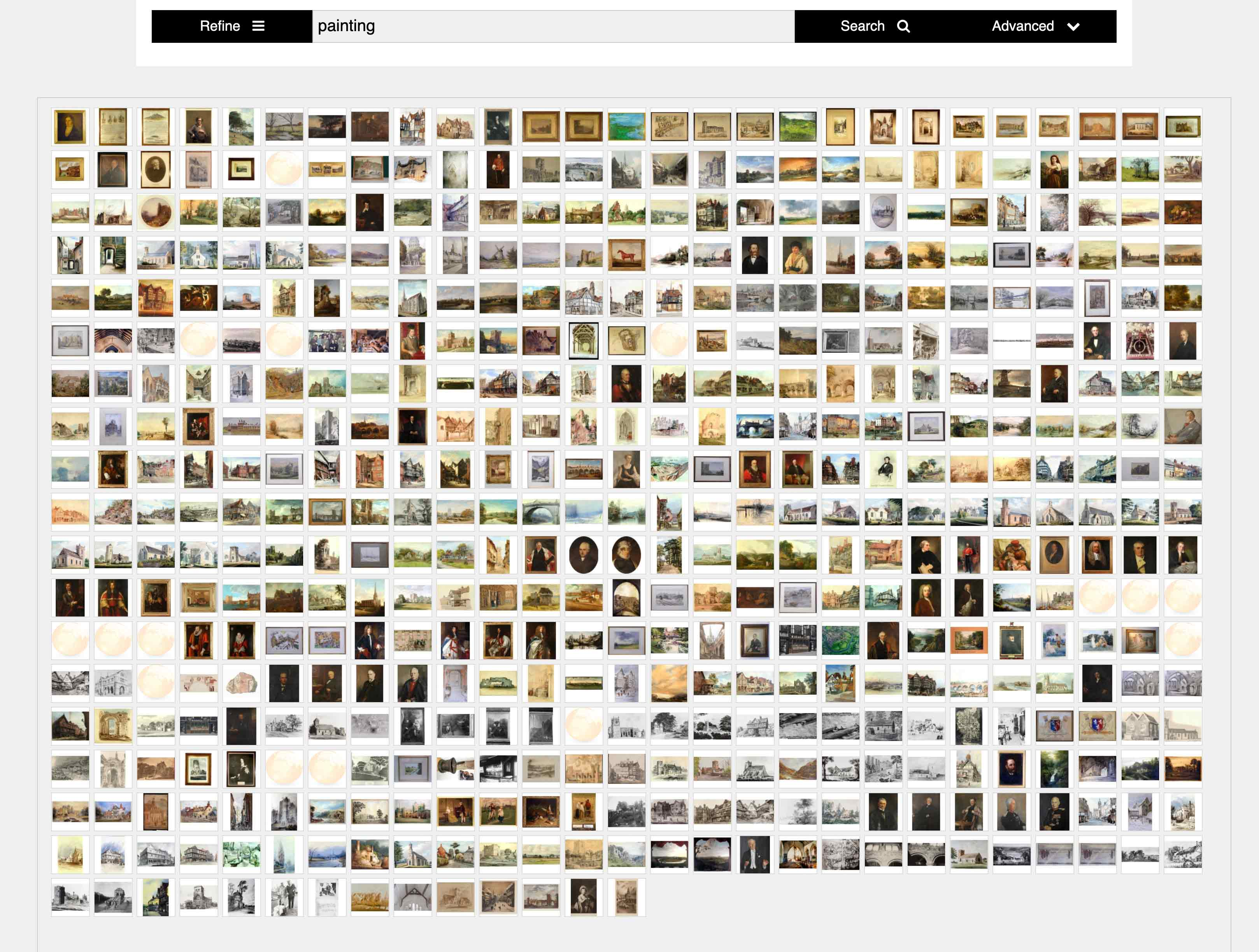 Mosaic image gallery with dynamic search and refinement